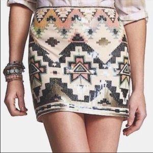 Express Aztec Sequin Mini Skirt